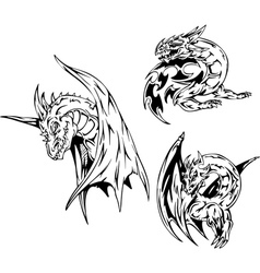Dragon tattoos Set vector image