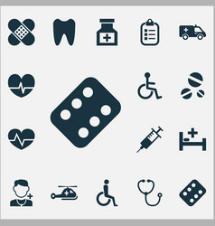 Drug icons set collection of device tent mark vector