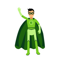 Ecological superhero man standing and waving his vector