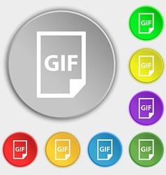 File gif icon sign symbol on eight flat buttons vector
