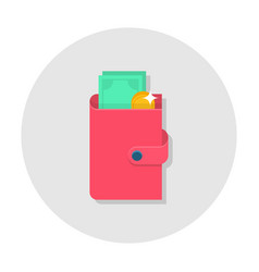 Flat wallet icon vector