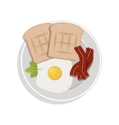 Food plate with egg bread bacon cilantro leaf vector