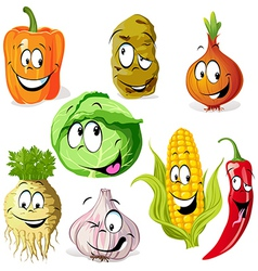 Funny vegetable and spice cartoon vector