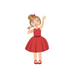 Girl in red dress with the microphone vector