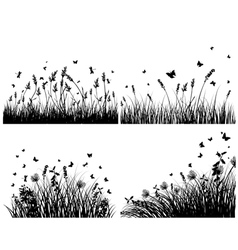 grass silhouettes background set vector image vector image