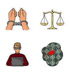 Handcuffs scales of justice hacker crime scene vector
