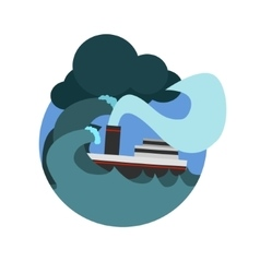 Havy gale sinking the ship natural force sticker vector