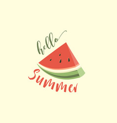 hello summer card with melon vector image