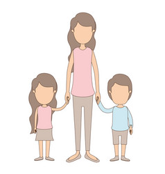 Light color caricature faceless full body mother vector
