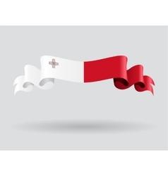 Maltese wavy flag vector image vector image