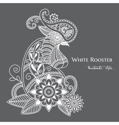 mehendi White rooster mehendi vector image vector image