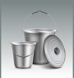 metal buckets vector image