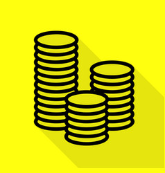Money sign black icon with flat vector