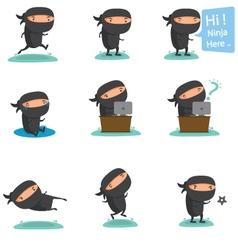 Ninja mascot set 2 vector