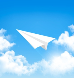 Paper airplane in the sky with clouds vector image vector image