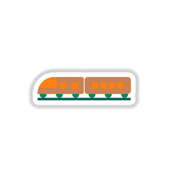 Paper sticker on white background train vector