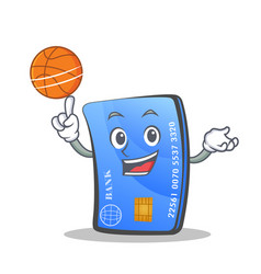 Playing basketball credit card character cartoon vector
