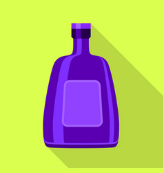 Purple glass bottle for alcohol icon flat style vector