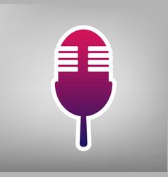 Retro microphone sign purple gradient vector