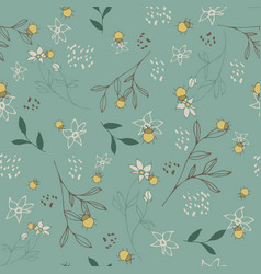 seamless pattern with floral design and beetle vector image vector image