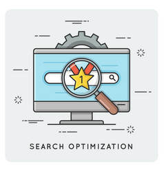 seo search optimization thin line concept vector image vector image