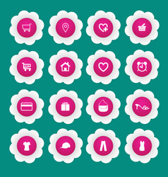 shopping icon with white paper flower vector image vector image