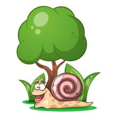 snail animals tree grass cartoon characters vector image vector image