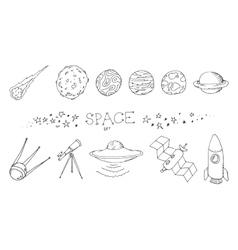 Space doodle set vector