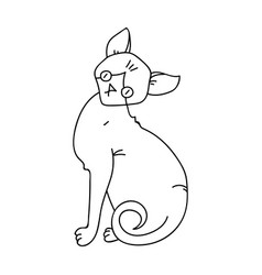 sphynx icon in outline style isolated on white vector image vector image