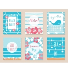 Summer ocean and beach posters and cards vector