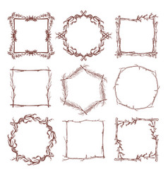 Vintage rustic branch frame borders hand drawn vector