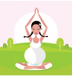 Woman making yoga in park vector