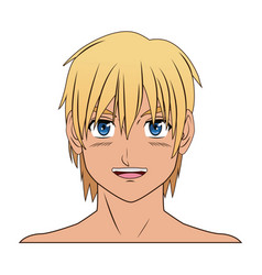 young guy anime boy character japanese vector image