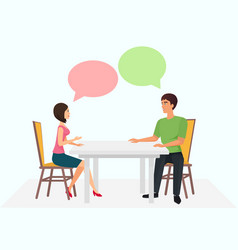 young man and woman are sitting at the table and vector image vector image
