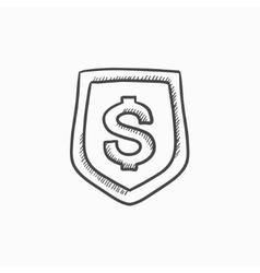 Shield with dollar symbol sketch icon vector image