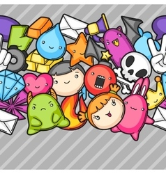 Game kawaii seamless pattern Cute gaming design vector image