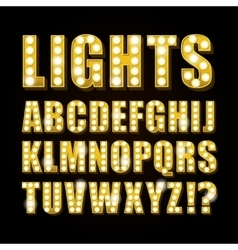 Yellow neon lamp letters font show casino vector