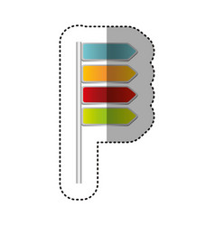 color notices of tipped routes icon vector image