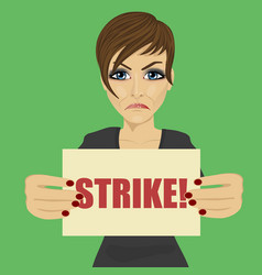 angry young businesswoman holding strike banner vector image
