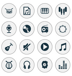 audio icons set collection of music timbrel vector image