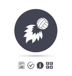 volleyball fireball icon beach sport symbol vector image