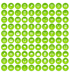 100 communication icons set green circle vector image
