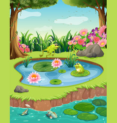 frogs and fish in the pond vector image