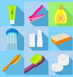 Hygiene icons set flat style vector