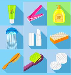 hygiene icons set flat style vector image