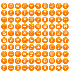 100 communication icons set orange vector image