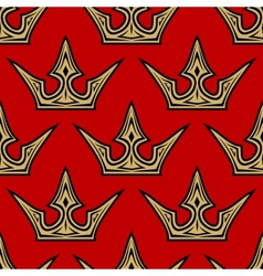 Golden crowns seamless pattern background vector image