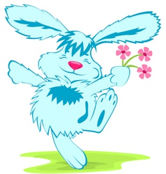 Blue rabbit with flowers vector