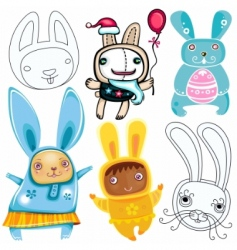 rabbits set vector image