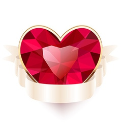 Red gemstone heart shaped with ribbon vector